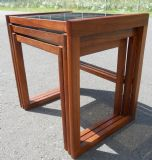 Retro Teak Glass Top Nest of Tables